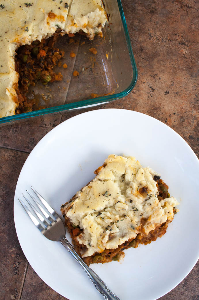 Lentil and Mushroom Shepherd's Pie with Mashed Cauliflower birds eye view.