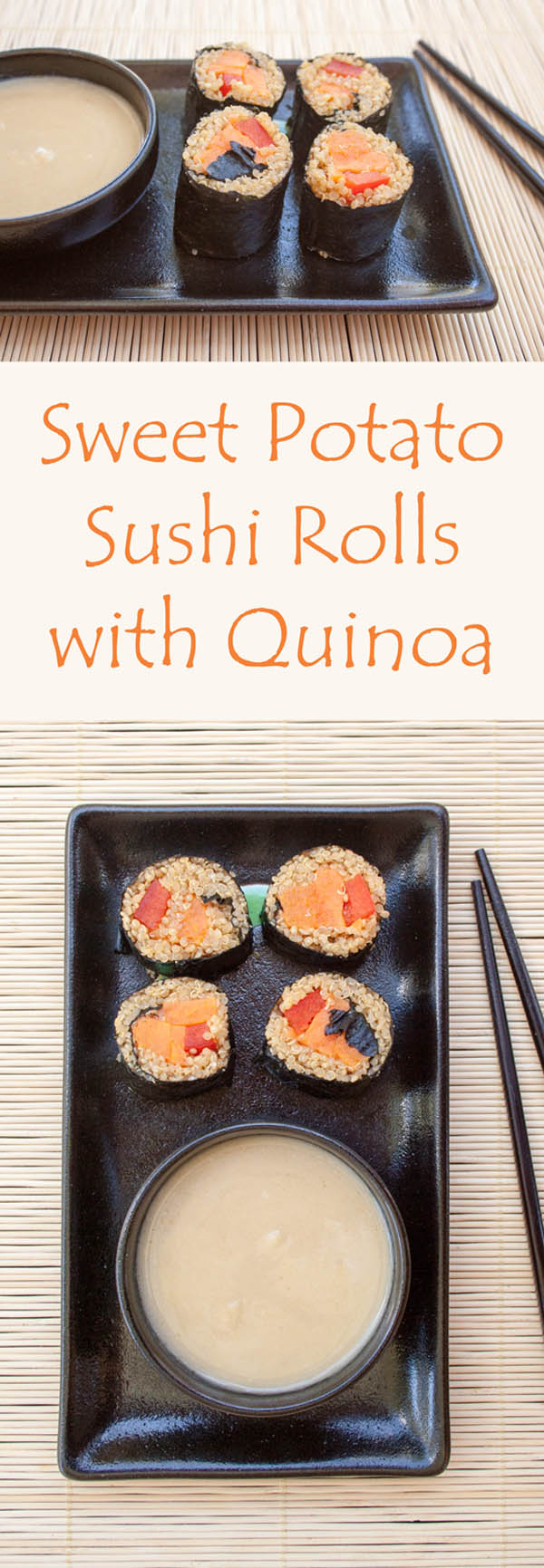 Sweet Potato Sushi Rolls collage photo with text.