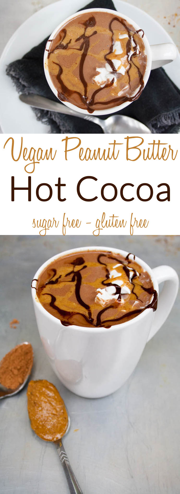 Vegan Peanut Butter Hot Cocoa collage photo with text