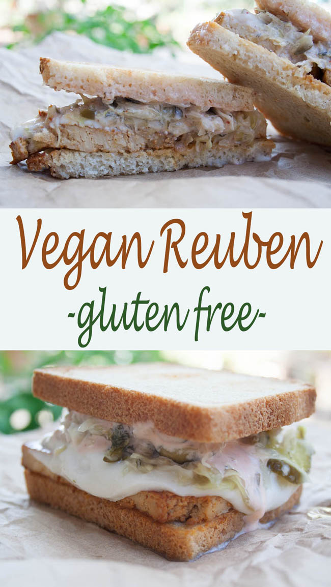 Vegan Reuben Recipe collage photo with text in the middle.