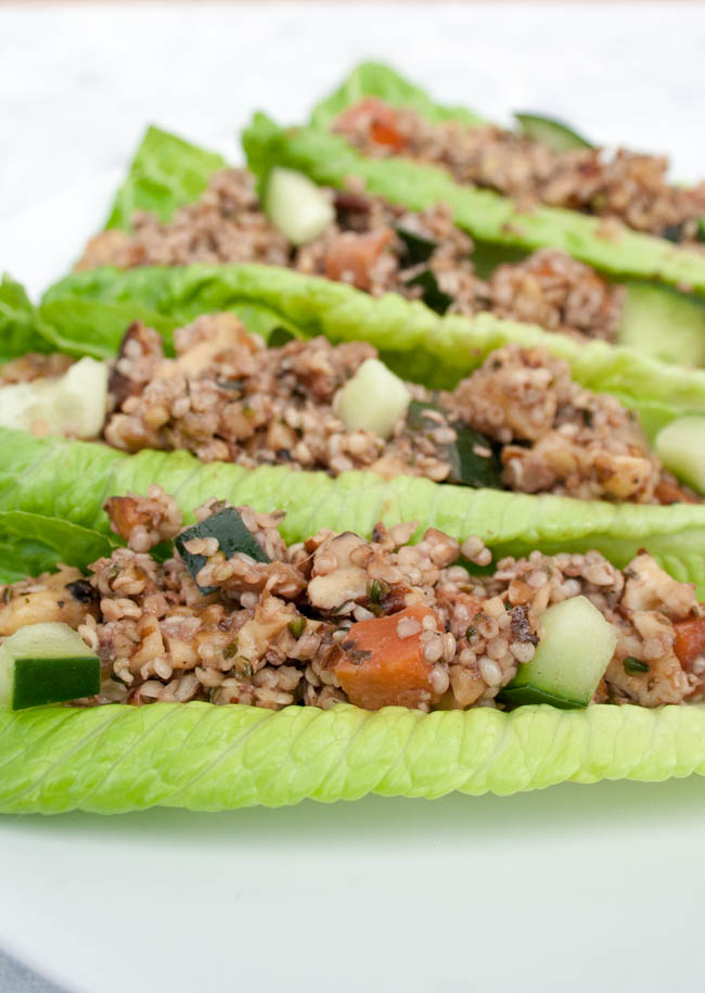Ginger Sesame Walnut and Hemp Seed Lettuce Wraps vertical close up.