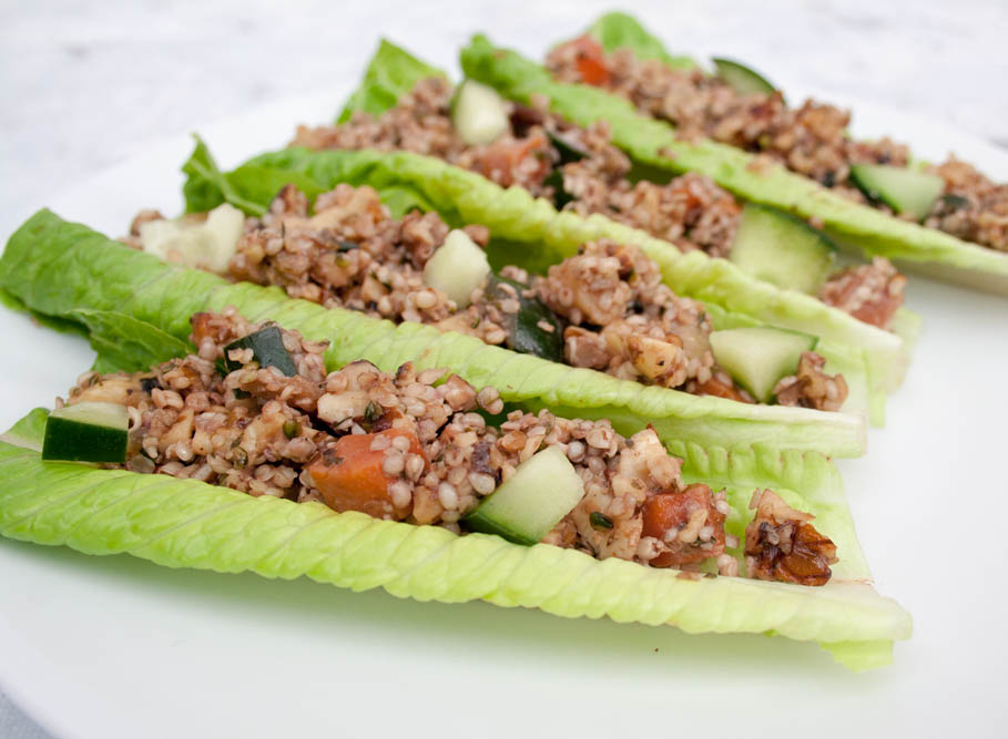 Ginger Sesame Walnut and Hemp Seed Lettuce Wraps close up.