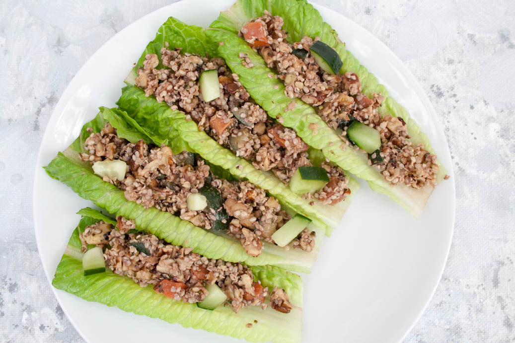 Ginger Sesame Walnut and Hemp Seed Lettuce Wraps birds eye view.