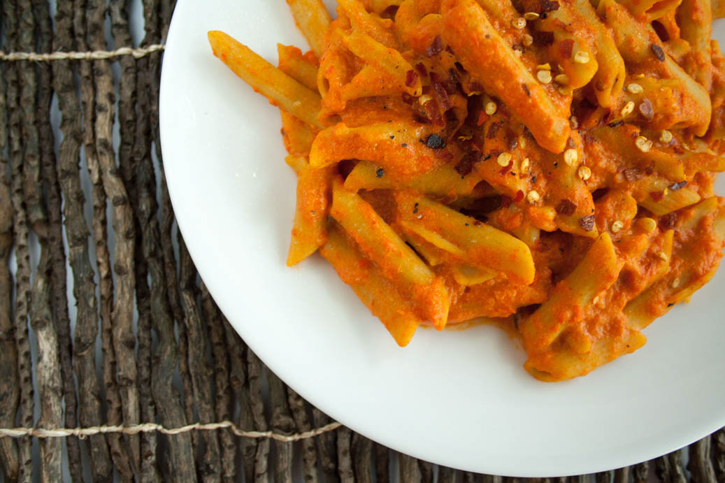Roasted Red Pepper Pasta on plate.