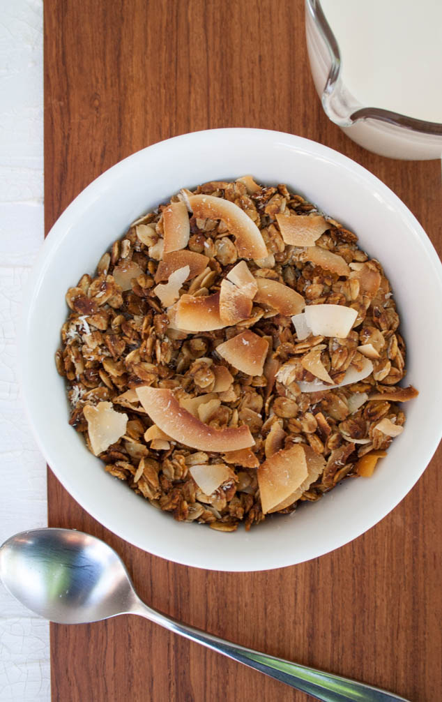 Coconut Granola in bowl with spoon.