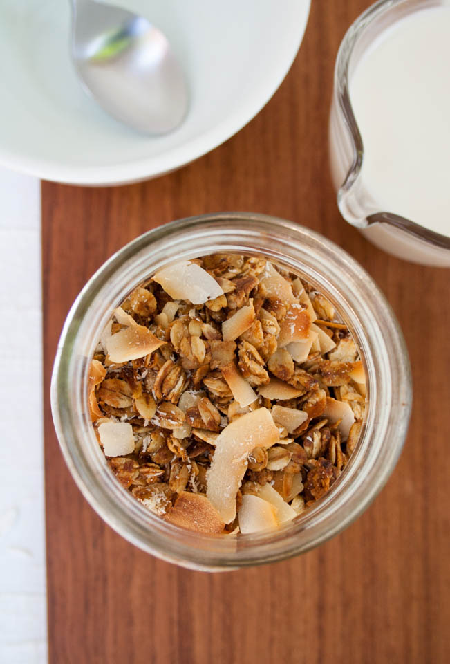 Coconut Granola with almond milk.