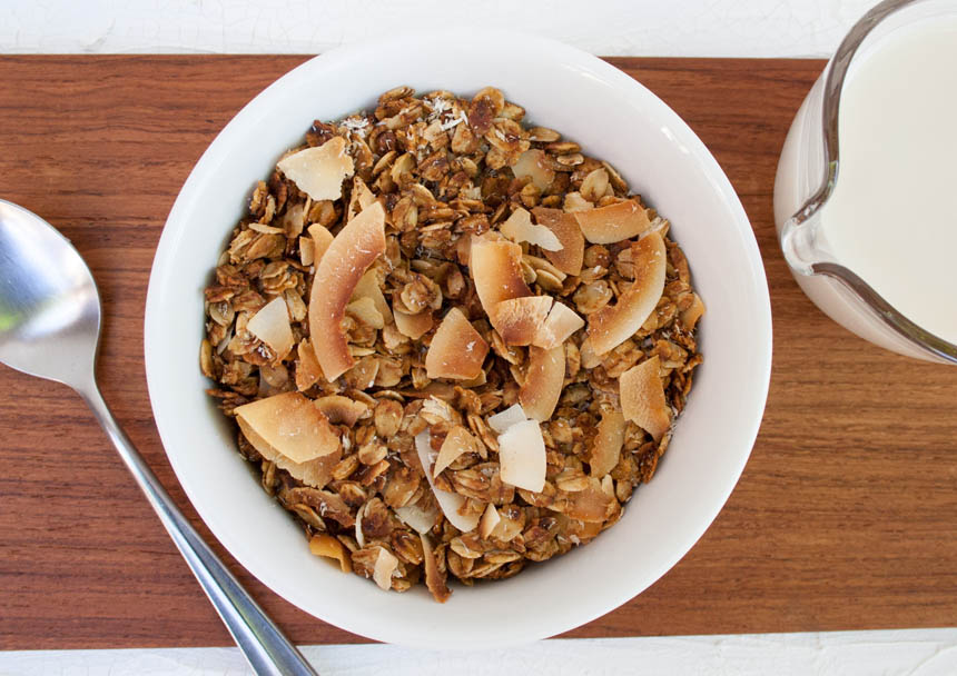 Coconut Granola in bowl.