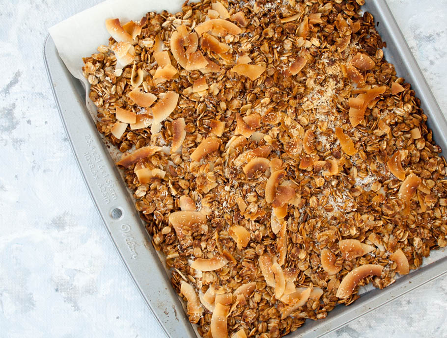 Coconut Granola on baking sheet.