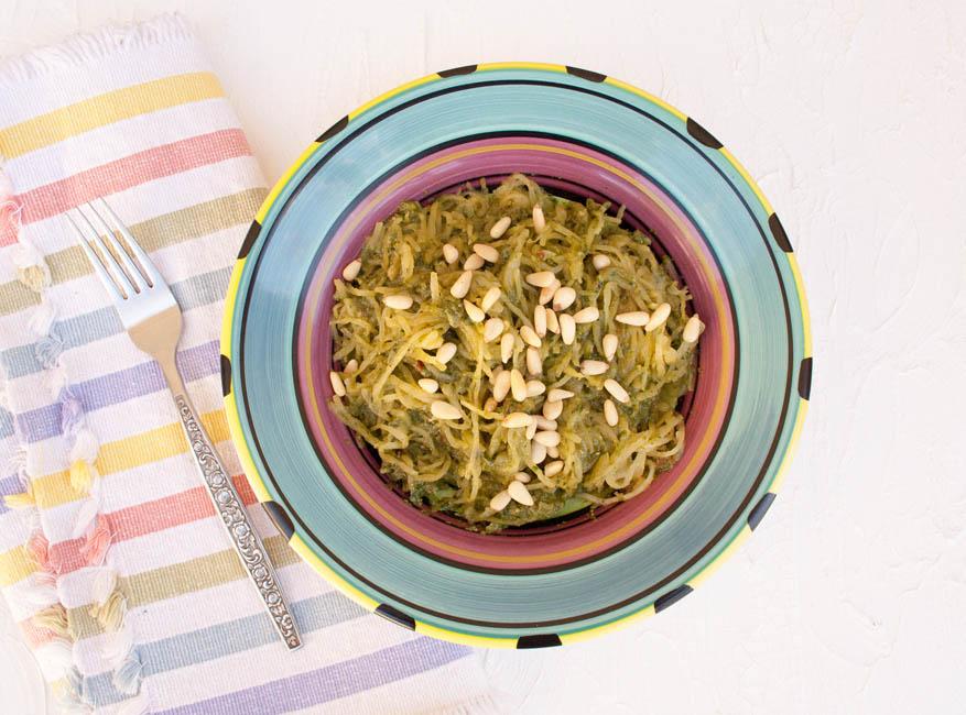 Spaghetti Squash with Sun-Dried Tomato Basil Pesto