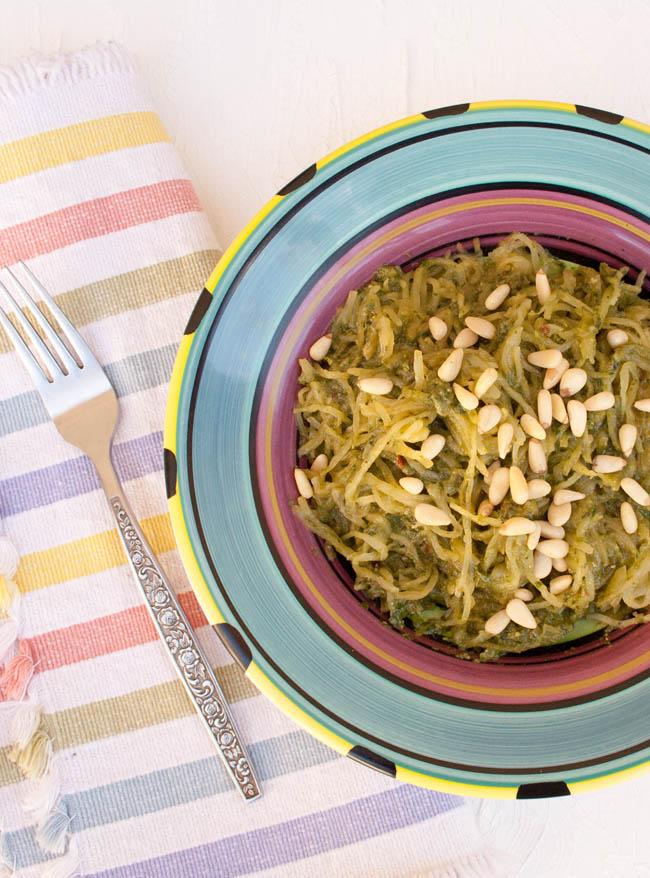 Spaghetti Squash with Sun-Dried Tomato Basil Pesto birds eye view.