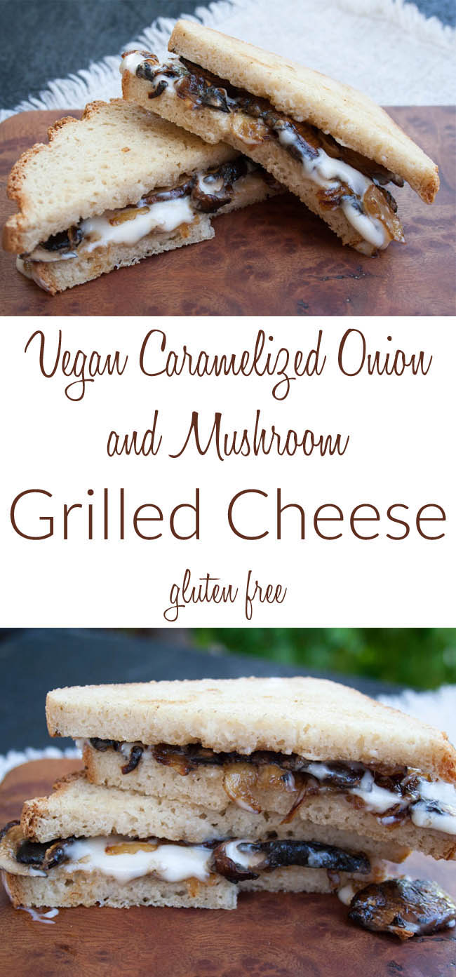 Vegan Caramelized Onion and Mushroom Grilled Cheese collage photo with text.
