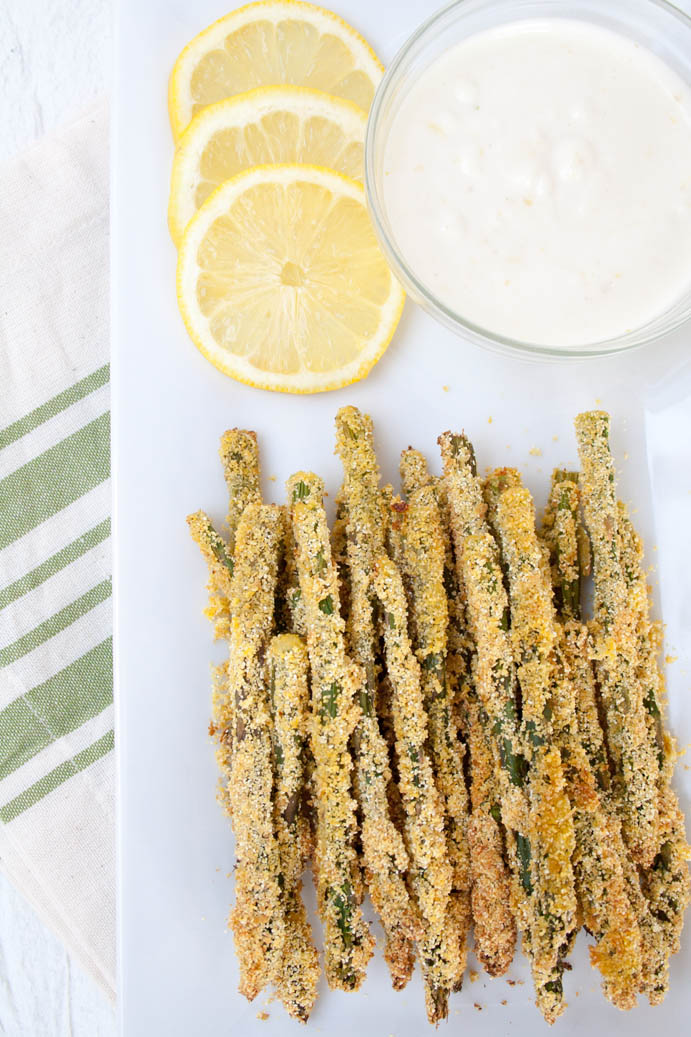 Cornmeal Baked Asparagus Fries with Vegan Lemon Garlic Mayo birds eye view.
