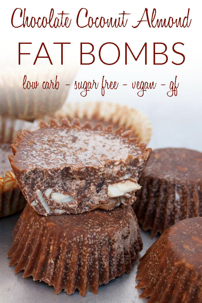 Chocolate Coconut Almond Fat Bombs photo with text.
