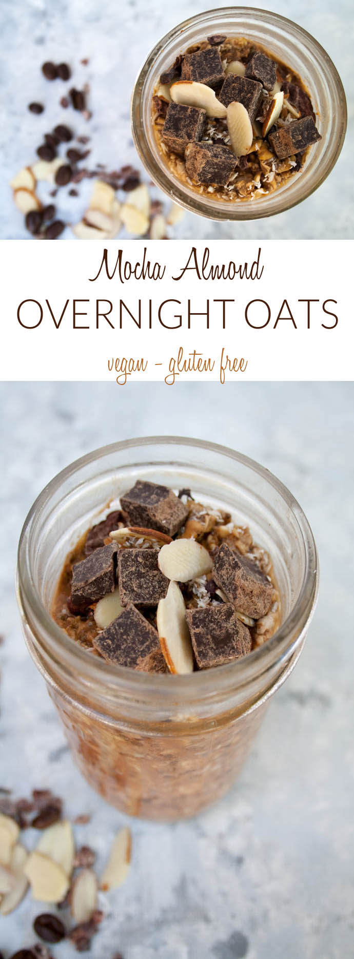 Mocha Almond Overnight Oats collage photo