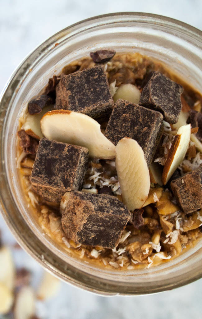 Mocha Almond Overnight Oats vertical birds eye