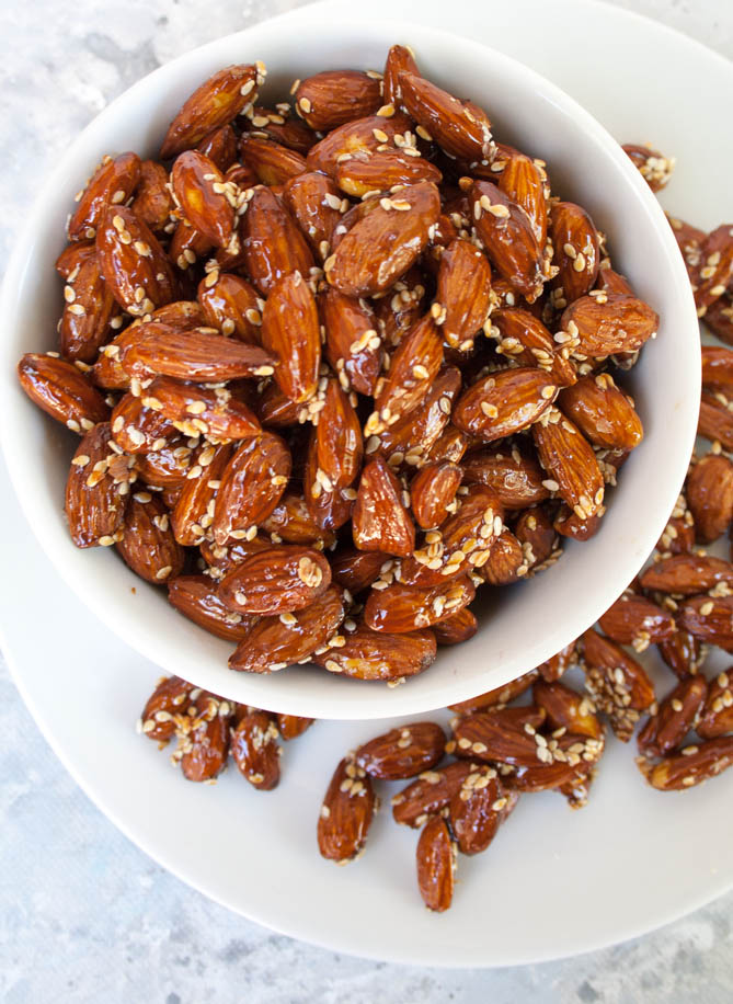 Tamari Almond Recipe vertical birds eye view.