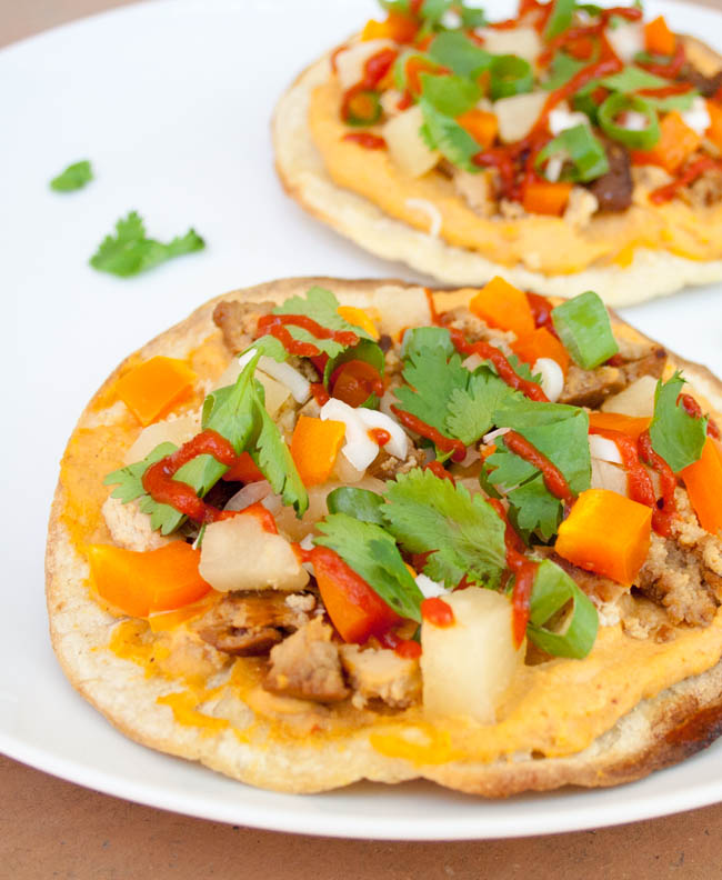 Teriyaki Tofu and Pineapple Tostadas with Sriracha Hummus close up.