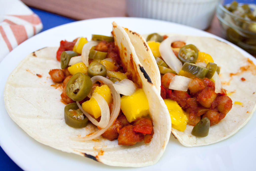 BBQ Chickpea and Mango Tacos with Pickled Peppers and Onions -