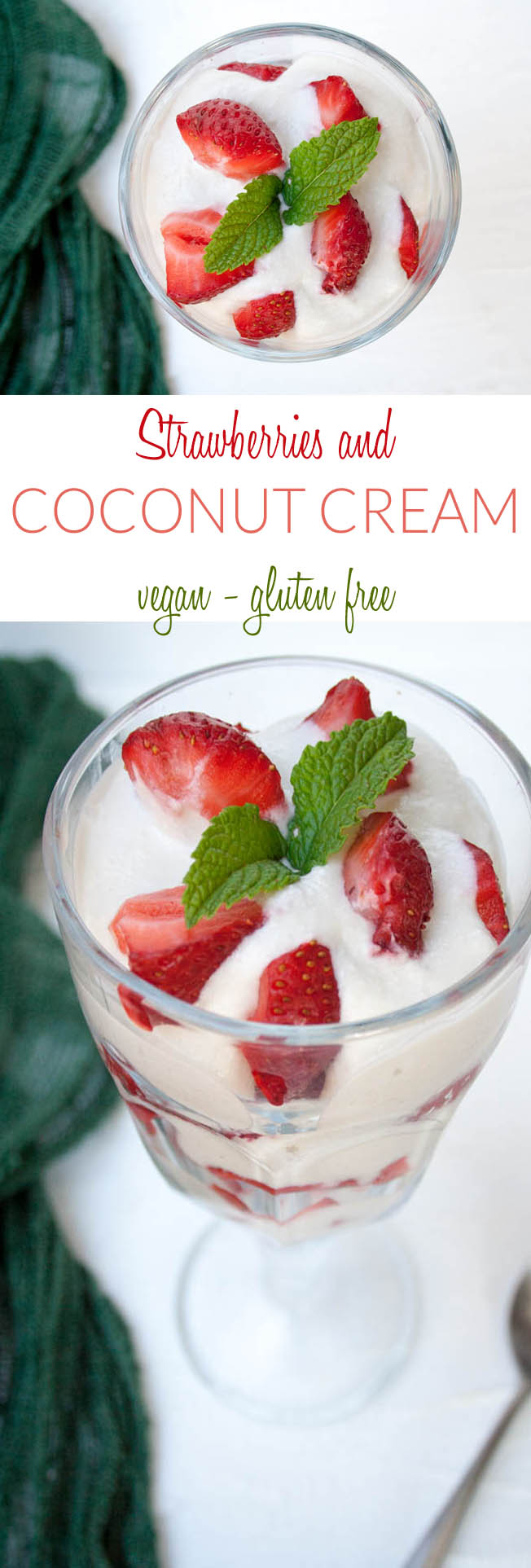 Strawberries and Coconut Cream collage photo with text