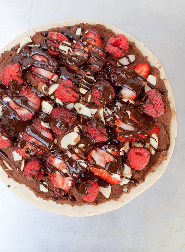 Berry and Chocolate Hummus Dessert Pizza birds eye view