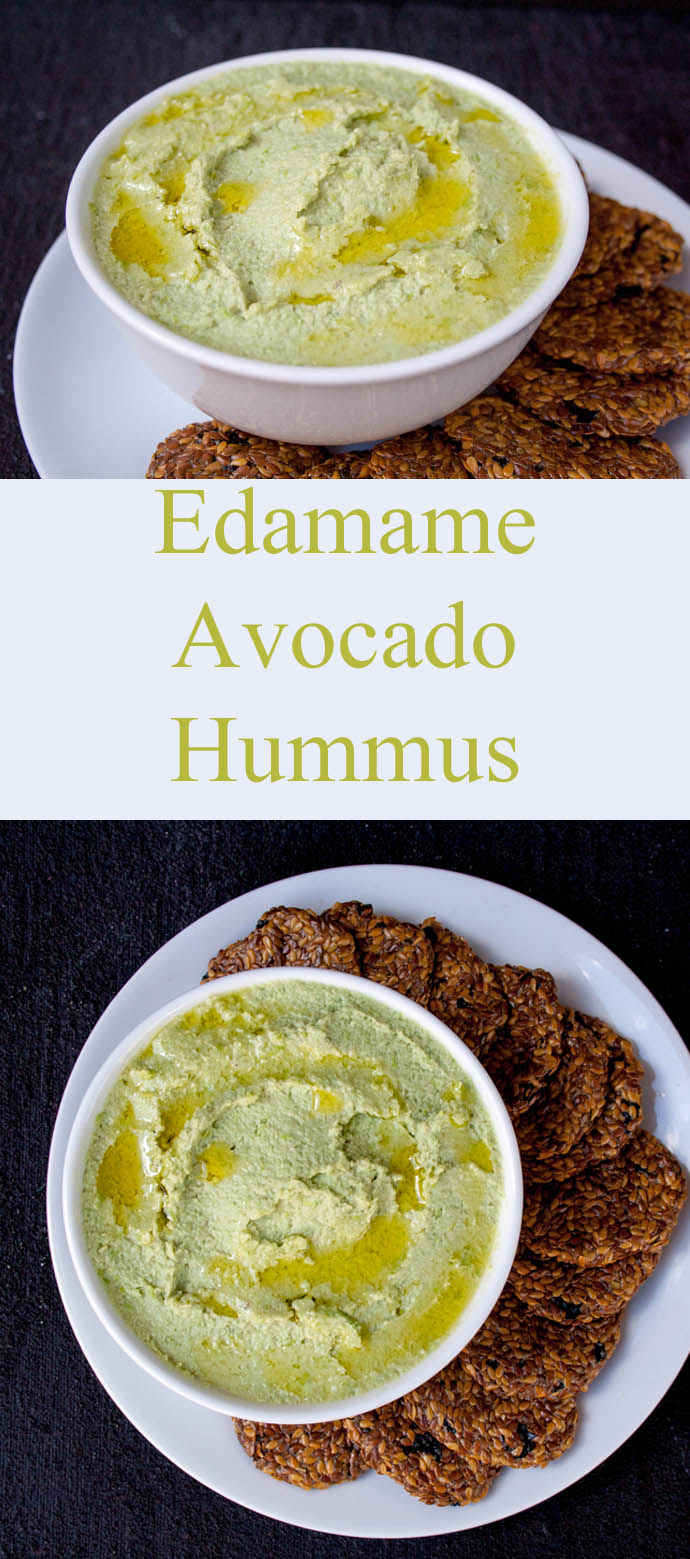 Edamame Avocado Hummus collage photo with text