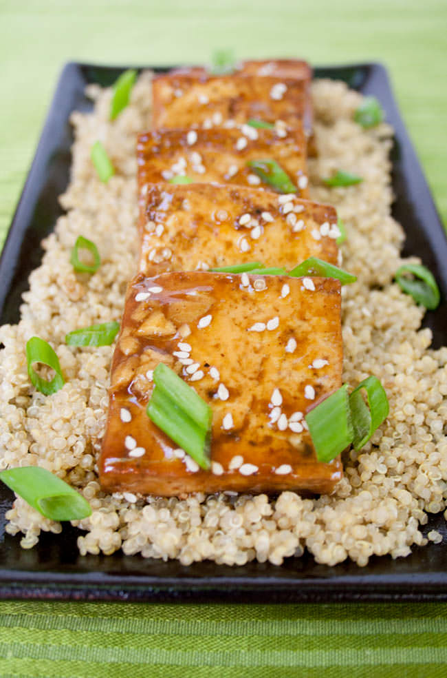 Ginger Hoisin Tofu over quinoa