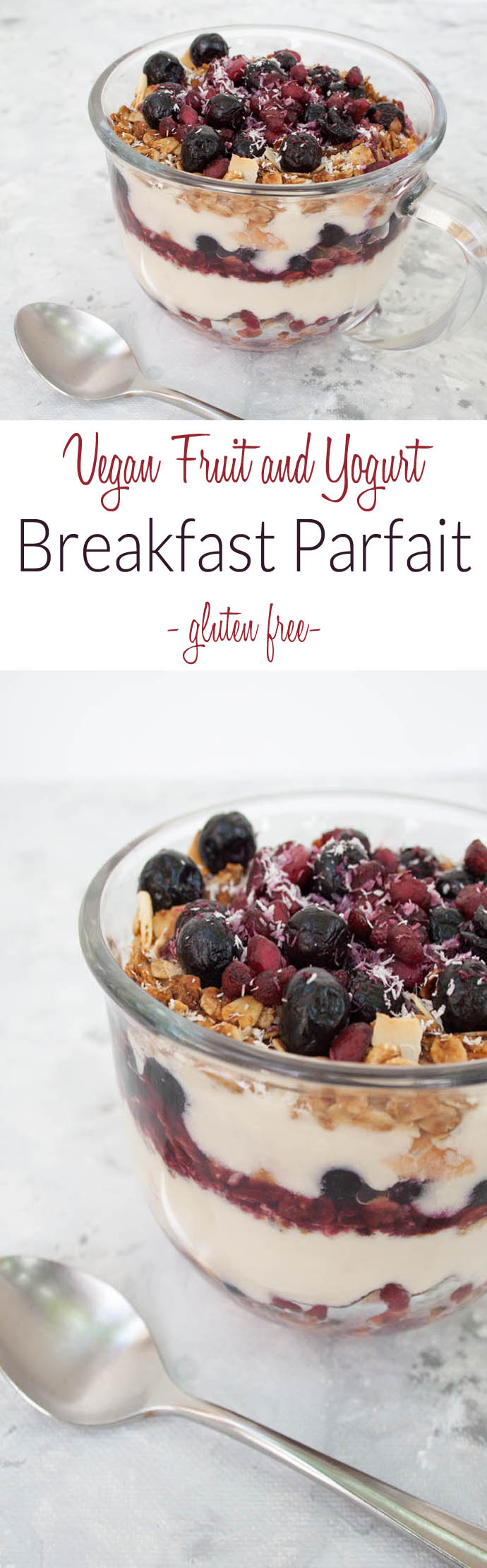 Vegan Fruit and Yogurt Breakfast Parfait collage photo with text