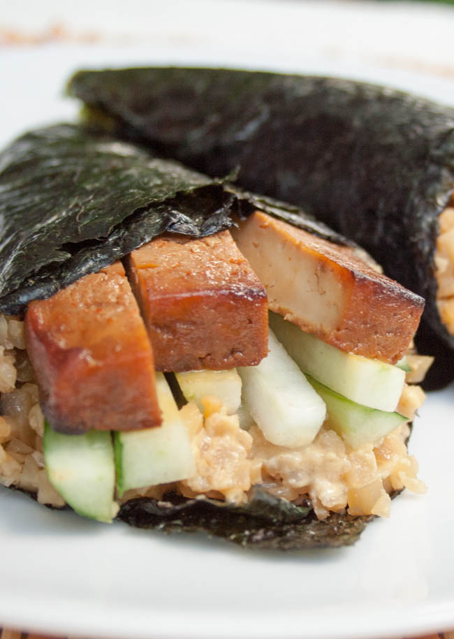 Baked Tofu Temaki Sushi with Cauliflower Rice close up