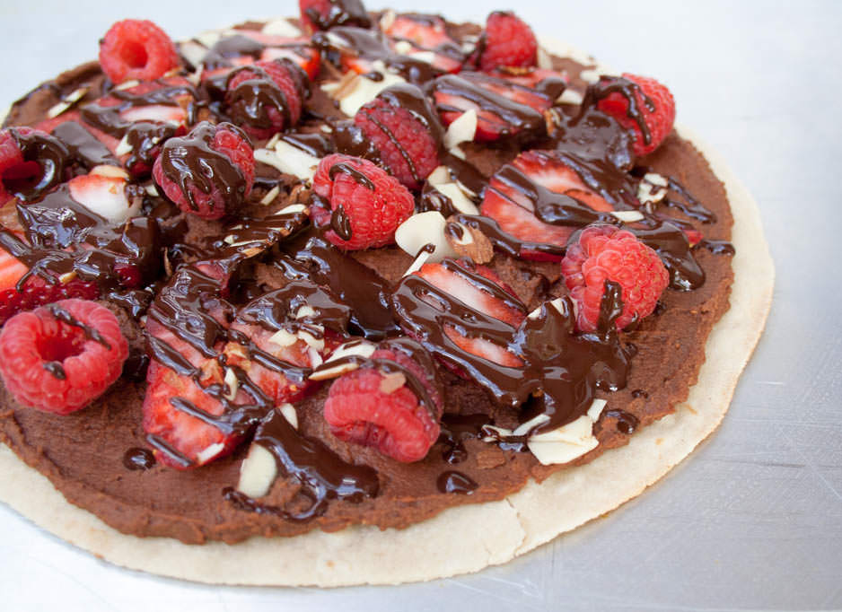 Berry and Chocolate Hummus Dessert Pizza close up.