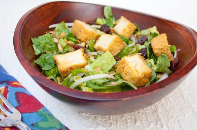 Crispy Tofu Salad with Sweet Mustard Dressing