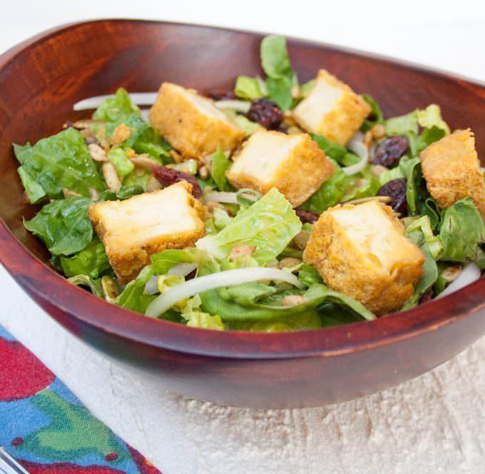 Crispy Tofu Salad with Sweet Mustard Dressing