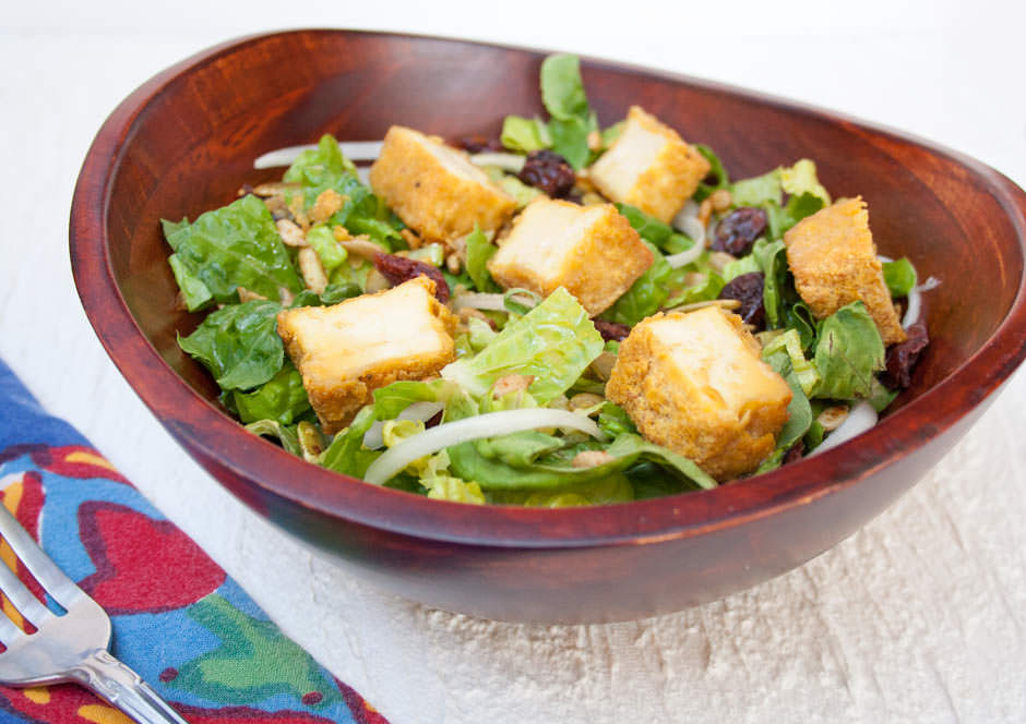 Crispy Tofu Salad with Sweet Mustard Dressing close up.