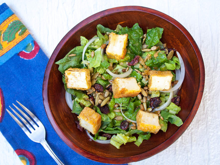 Crispy Tofu Salad with Sweet Mustard Dressing birds eye view.