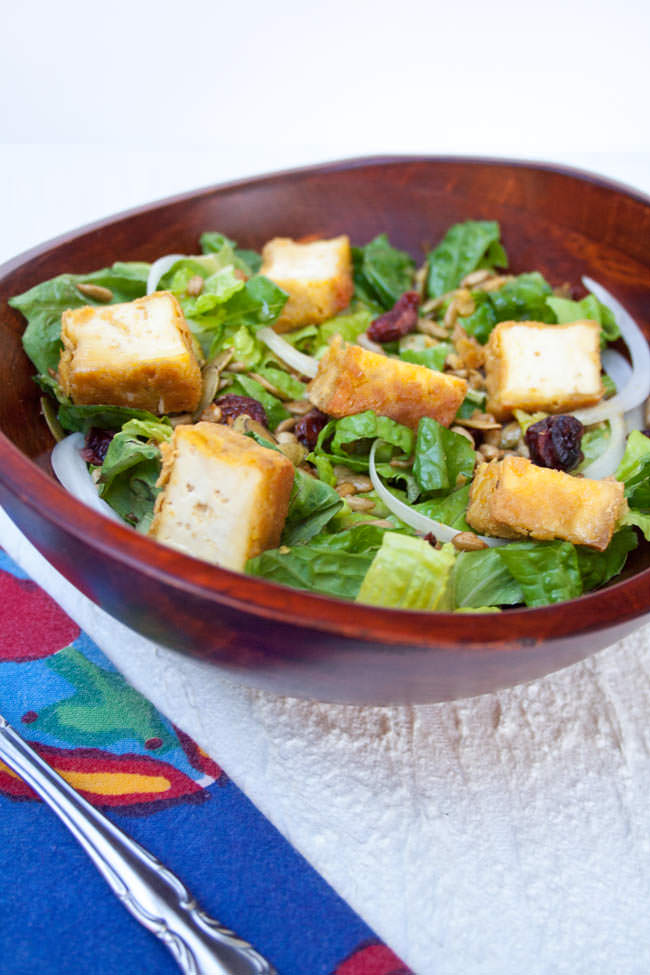 Crispy Tofu Salad with Sweet Mustard Dressing in wood bowl