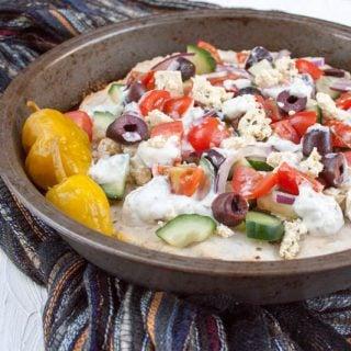 Greek Pizza with Tofu Feta