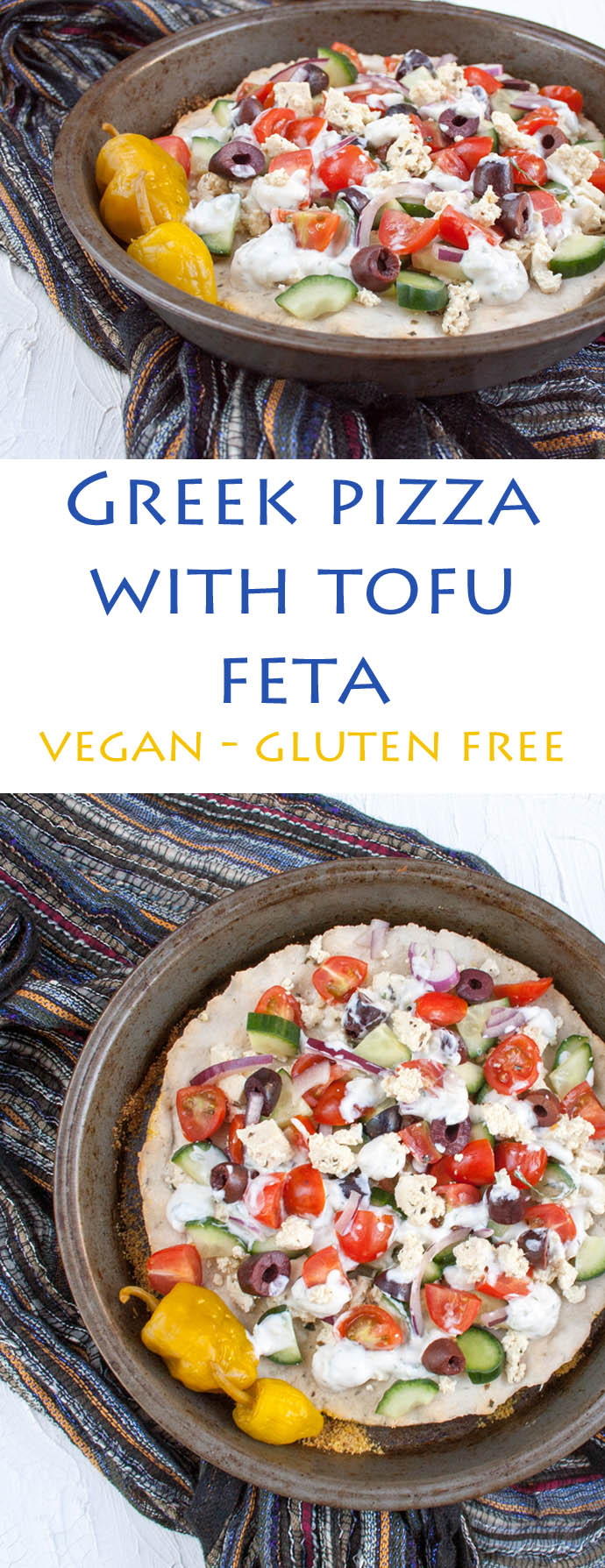 Greek Pizza with Tofu Feta collage photo with text.