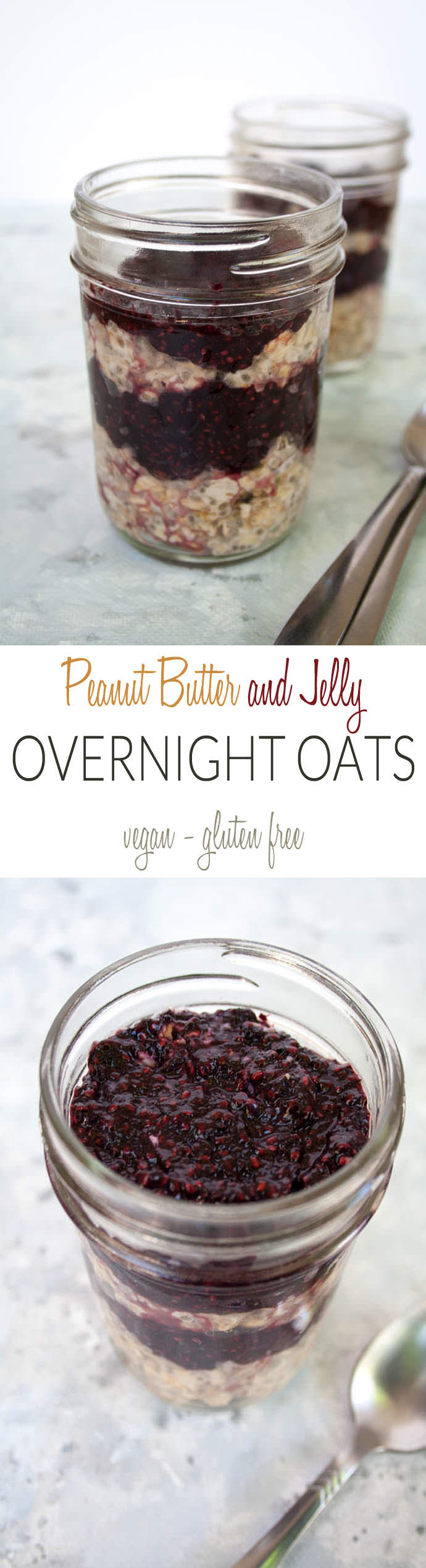 Peanut Butter and Jelly Overnight Oats collage photo