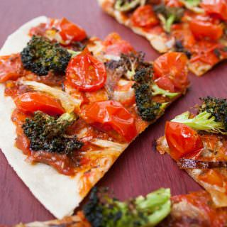 Roasted Broccoli and Tomato Tortilla Pizza