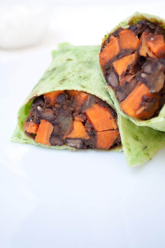Sweet Potato and Maple Chipotle Black Bean Burritos