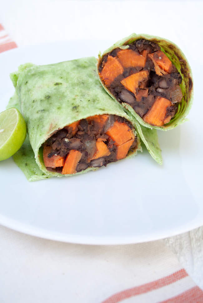 Sweet Potato and Maple Chipotle Black Bean Burritos with lime.