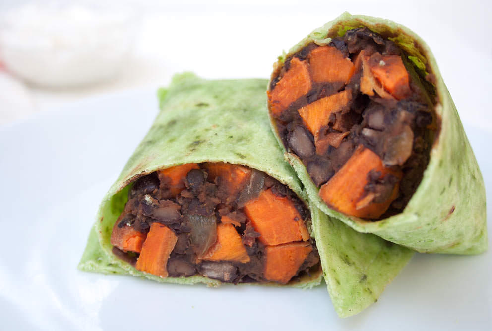 Sweet Potato and Maple Chipotle Black Bean Burritos close up.