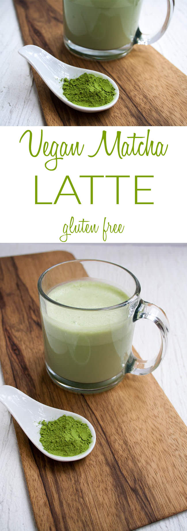Vegan Matcha Latte collage photo with text.
