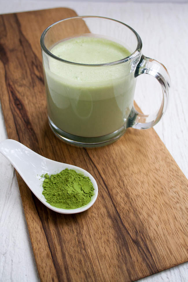 Vegan Matcha Latte in glass mug