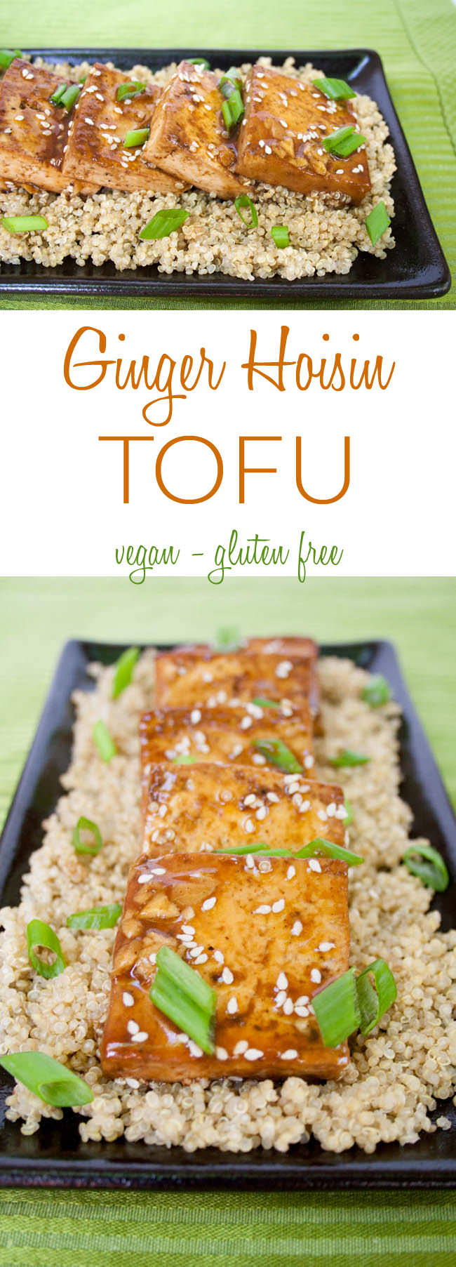 Ginger Hoisin Tofu collage photo with text