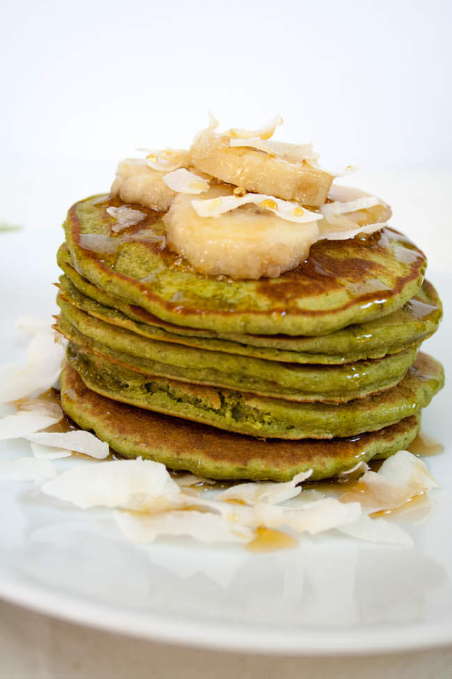 Matcha Pancakes with Banana close up.