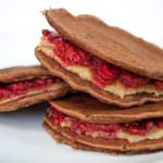 Raspberry and Almond Butter Chocolate Almond Pancake Sandwiches