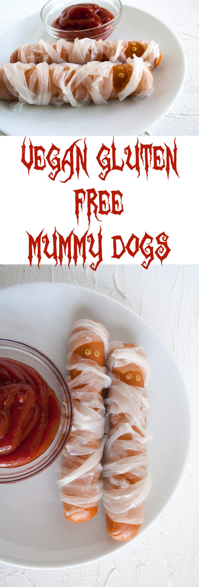 Vegan Gluten Free Mummy Dogs collage photo with two photos and text in between.