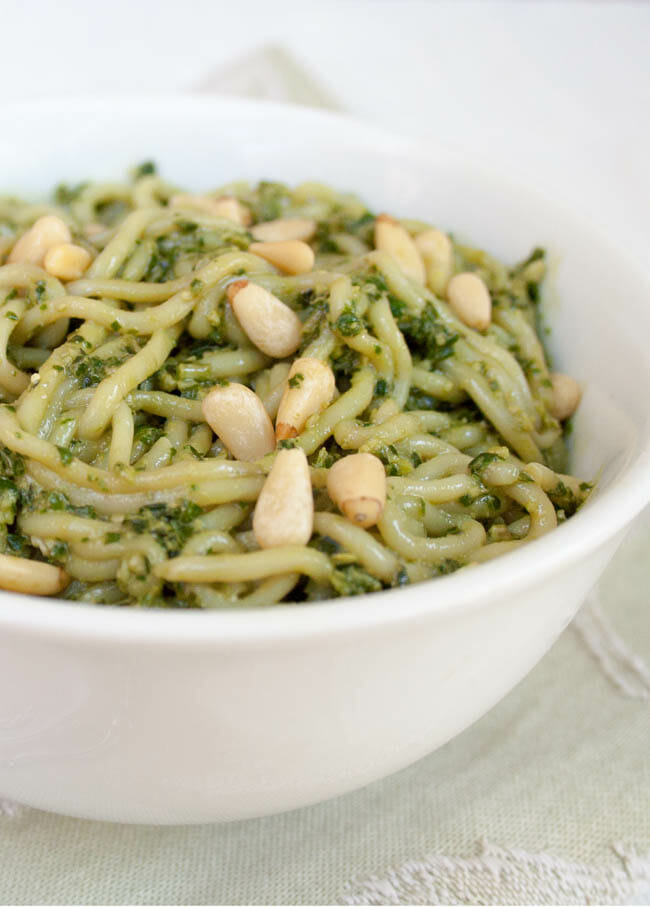 Low Calorie Pasta with pesto close up.