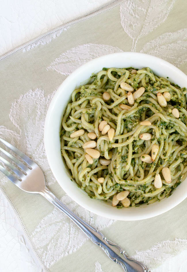 Vegan Pesto Shirataki Noodles with fork.