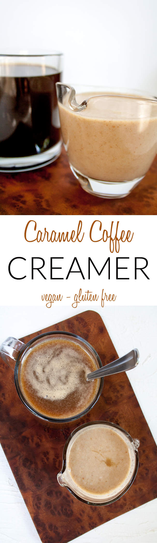 Caramel Creamer long pin for Pinterest with two photos and text in between.